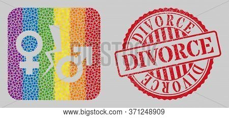 Distress Divorce Stamp And Mosaic Divorce Symbol Hole For Lgbt. Dotted Rounded Rectangle Mosaic Is A