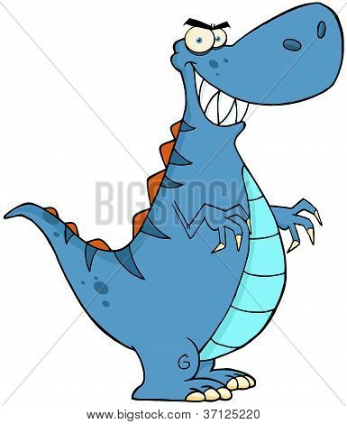 Angry Blue Dinosaur With Big Teeth Cartoon Character poster