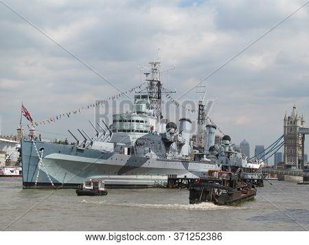 LONDON/ UK- 7th June 2016: Second world war battleship, HMS Belfast, docked on the river Thames, near tower bridge.