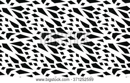 Abstract Pattern Design In Black And White Inspired In Sharp Fragments Of Glass. Vector Pattern For