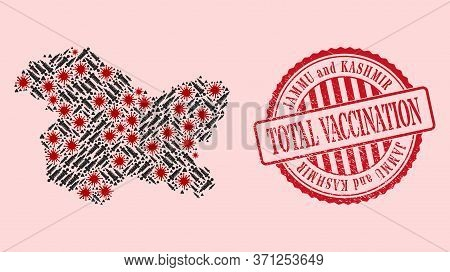 Vector Mosaic Jammu And Kashmir State Map Of Sars Virus, Syringe Icons, And Red Grunge Vaccination S