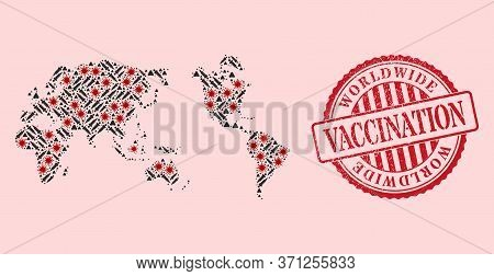 Vector Collage Worldwide Map Of Sars Virus, Injection Icons, And Red Grunge Vaccine Seal. Virus Part