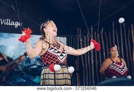 Rotorua, New Zealand -december-11-2017 : Maori Tribes Traditional Performance Greeting Show. The Mao
