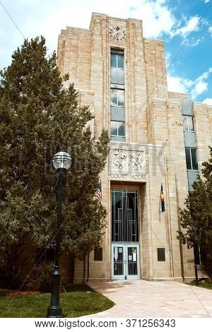 Boulder, Colorado - May 27th, 2020:  Exterior Of Boulder Municipal Courthouse On Pearl Street Mall I