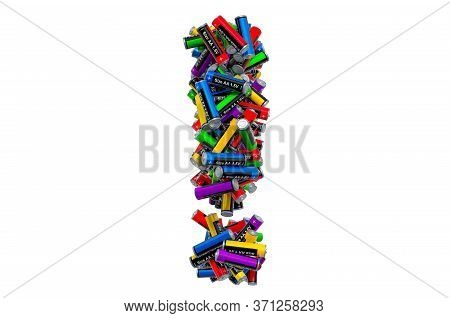 Exclamation Mark From Colored Aa Batteries, 3d Rendering Isolated On White Background