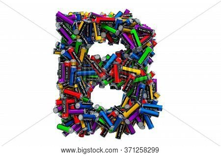 Letter B From Colored Aa Batteries, 3d Rendering Isolated On White Background