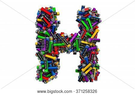 Letter H From Colored Aa Batteries, 3d Rendering Isolated On White Background