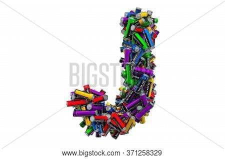 Letter J From Colored Aa Batteries, 3d Rendering Isolated On White Background