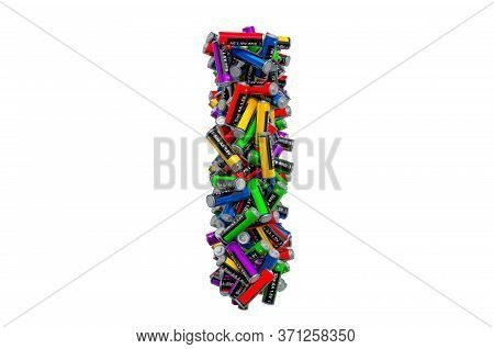 Letter I From Colored Aa Batteries, 3d Rendering Isolated On White Background
