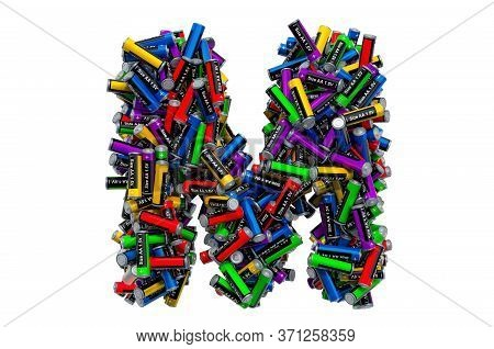 Letter M From Colored Aa Batteries, 3d Rendering Isolated On White Background