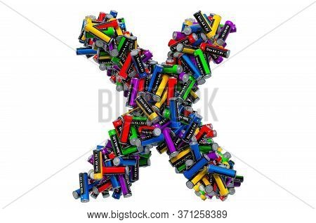 Letter X From Colored Aa Batteries, 3d Rendering Isolated On White Background