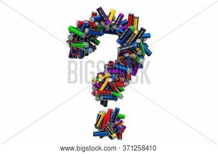 Question Mark From Colored Aa Batteries, 3d Rendering Isolated On White Background
