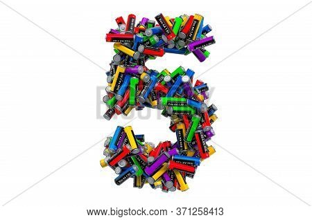 Number 5 From Colored Aa Batteries, 3d Rendering Isolated On White Background