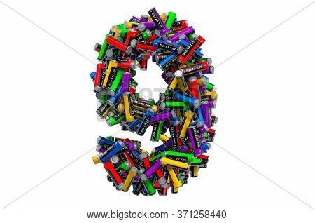 Number 9 From Colored Aa Batteries, 3d Rendering Isolated On White Background