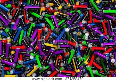 Background From Colored Aa Batteries, 3d Rendering