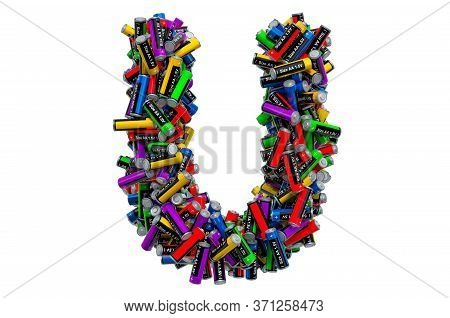 Letter U From Colored Aa Batteries, 3d Rendering Isolated On White Background