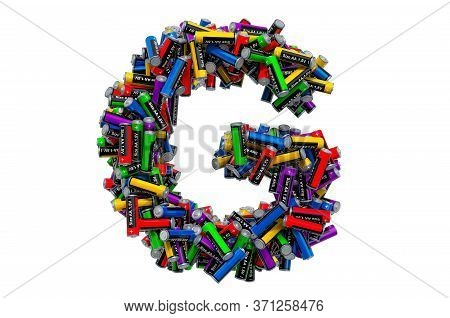 Letter G From Colored Aa Batteries, 3d Rendering Isolated On White Background