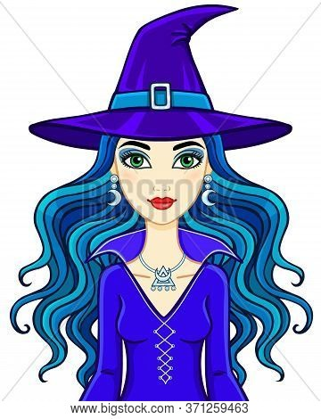 Animation Beautiful Witch. Vector Illustration Isolated On A White Background.