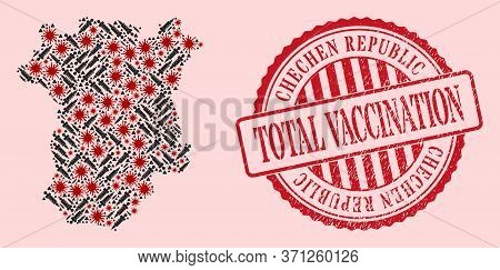 Vector Mosaic Chechen Republic Map Of Corona Virus, Vaccination Icons, And Red Grunge Vaccination Se