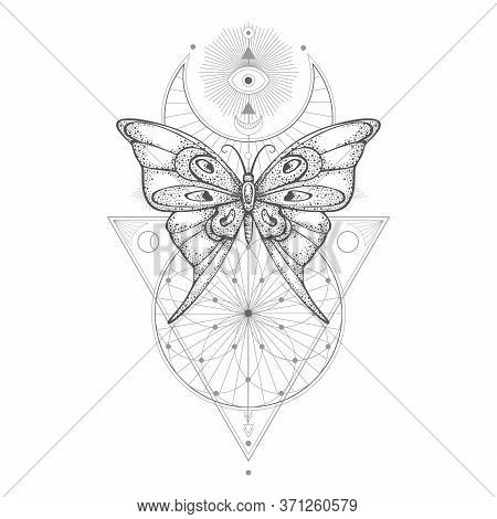 Vector Illustration With Hand Drawn Butterfly And Sacred Geometric Symbol On White Background. Abstr