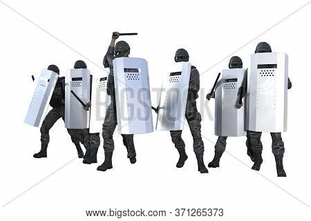 Police Swat Marching And Attacking On Revolt Isolated On White Background - Protest Stopping Concept