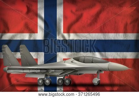 Fighter, Interceptor On The Norway Flag Background. 3d Illustration