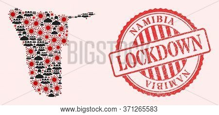 Vector Collage Namibia Map Of Sars Virus, Masked People And Red Grunge Lockdown Stamp. Virus Items A