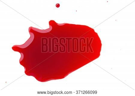 Blood Drop Isolated On White Background.red Spot. Blood Splatter On White. Blood Stains