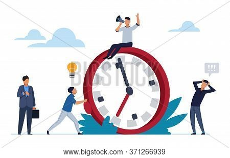 Deadline Concept. Office People Work In High Stress. Flat Cartoon Vector Illustration Characters Wor
