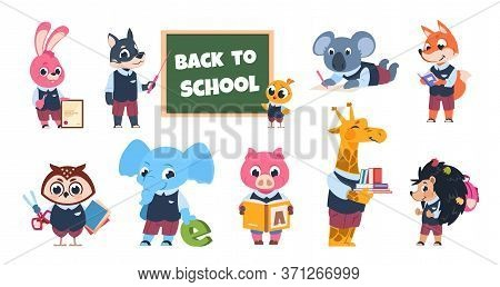 School Animal Characters. Funny Cartoon Kids Reading Writing And Studying At School, Educational Ill