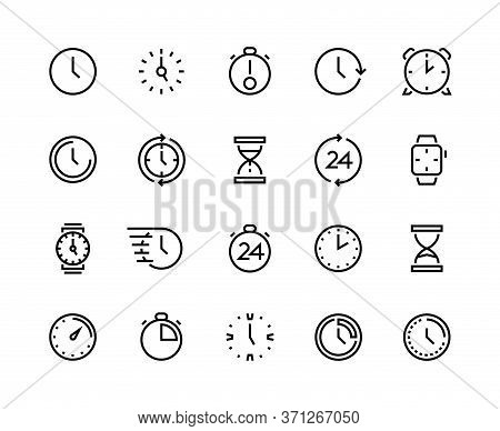Clock Line Icons. Time Management And Schedule Planning, Simple Line Symbols Of Calendar Alarm Wrist