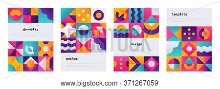 Geometric Shape Poster. Memphis Journal Cover With Swiss Geometric Composition, Banner Flyer With Ab