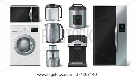 Kitchen Appliance. Domestic Electronic House Hold Devices, Kettle Microwave Toaster Blender. Vector