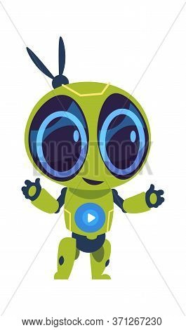 Friendly Robot. Futuristic Droid With Friendly Eyes. Cartoon Vector Image Humanoid Technology Charac