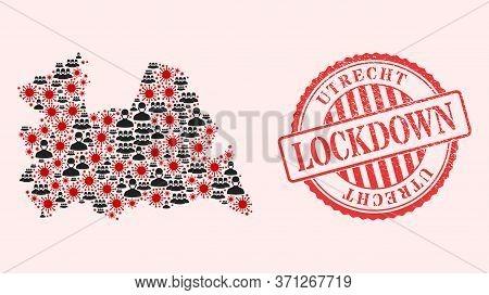 Vector Mosaic Utrecht Province Map Of Sars Virus, Masked Men And Red Grunge Lockdown Seal. Virus Ite