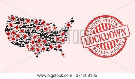 Vector Mosaic United States Map Of Sars Virus, Masked People And Red Grunge Lockdown Stamp. Virus Ce