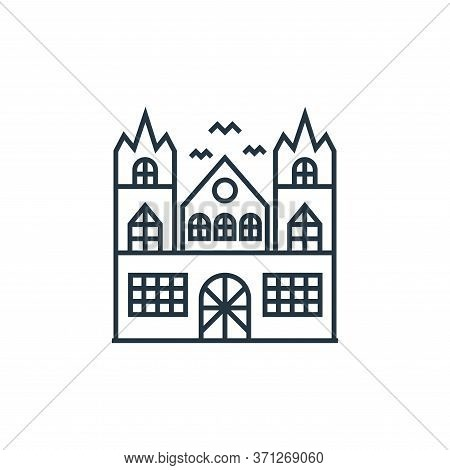 Haunted House Vector Icon. Haunted House Editable Stroke. Haunted House Linear Symbol For Use On Web