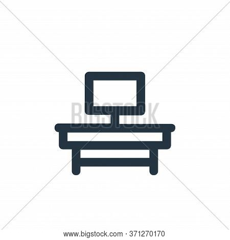 Tv Table Vector Icon. Tv Table Editable Stroke. Tv Table Linear Symbol For Use On Web And Mobile App
