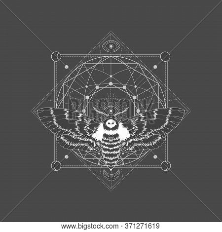 Vector Illustration With Hand Drawn Dead Head Moth And Sacred Geometric Symbol On Black Vintage Back