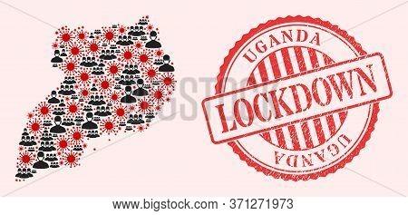 Vector Mosaic Uganda Map Of Corona Virus, Masked People And Red Grunge Lockdown Seal Stamp. Virus Pa