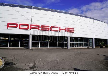 Bordeaux , Aquitaine / France - 10 17 2019 : Porsche Car Store German Automobile Shop Manufacturer S