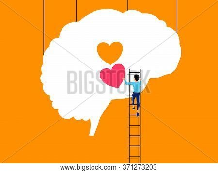 Mental Health ,brain Development  Medical Treatment Concept, Man Climbing Stairs To Set Up Heart To