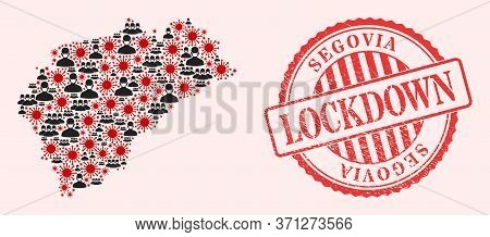Vector Collage Segovia Province Map Of Flu Virus, Masked People And Red Grunge Lockdown Stamp. Virus