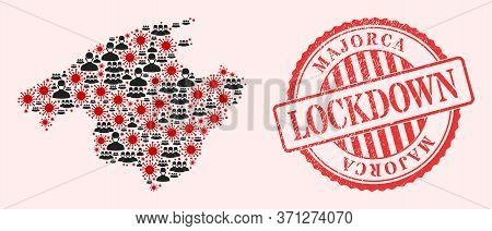 Vector Collage Majorca Map Of Corona Virus, Masked Men And Red Grunge Lockdown Seal Stamp. Virus Cel