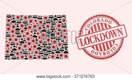 Vector Mosaic Colorado State Map Of Sars Virus, Masked Men And Red Grunge Lockdown Seal Stamp. Virus