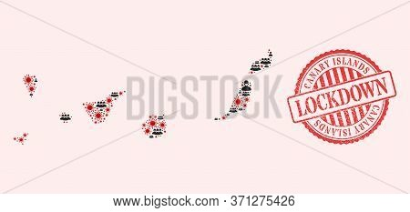 Vector Collage Canary Islands Map Of Flu Virus, Masked Men And Red Grunge Lockdown Seal Stamp. Virus