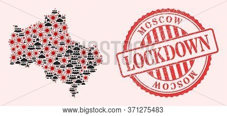 Vector Mosaic Moscow Region Map Of Covid-2019 Virus, Masked People And Red Grunge Lockdown Stamp. Vi