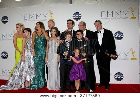 LOS ANGELES - SEP 23:  Modern Family Cast in the press room of the 2012 Emmy Awards at Nokia Theater on September 23, 2012 in Los Angeles, CA