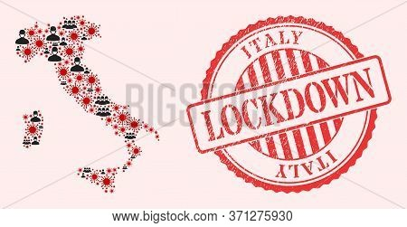 Vector Collage Italy Map Of Corona Virus, Masked Men And Red Grunge Lockdown Seal Stamp. Virus Cells