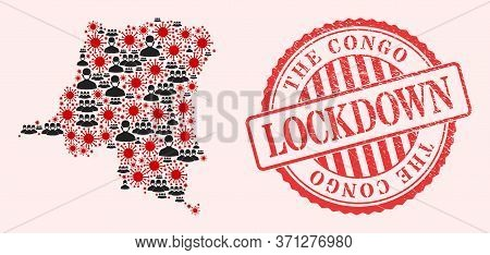 Vector Mosaic Democratic Republic Of The Congo Map Of Sars Virus, Masked People And Red Grunge Lockd